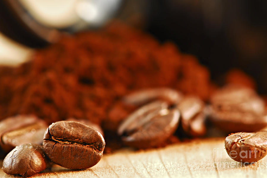 Coffee Beans And Ground Coffee Photograph