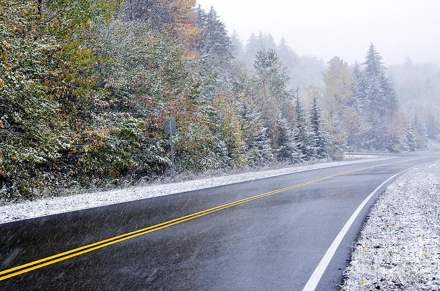 Fall Color And Snow Along The Highland Scenic Highway Photograph