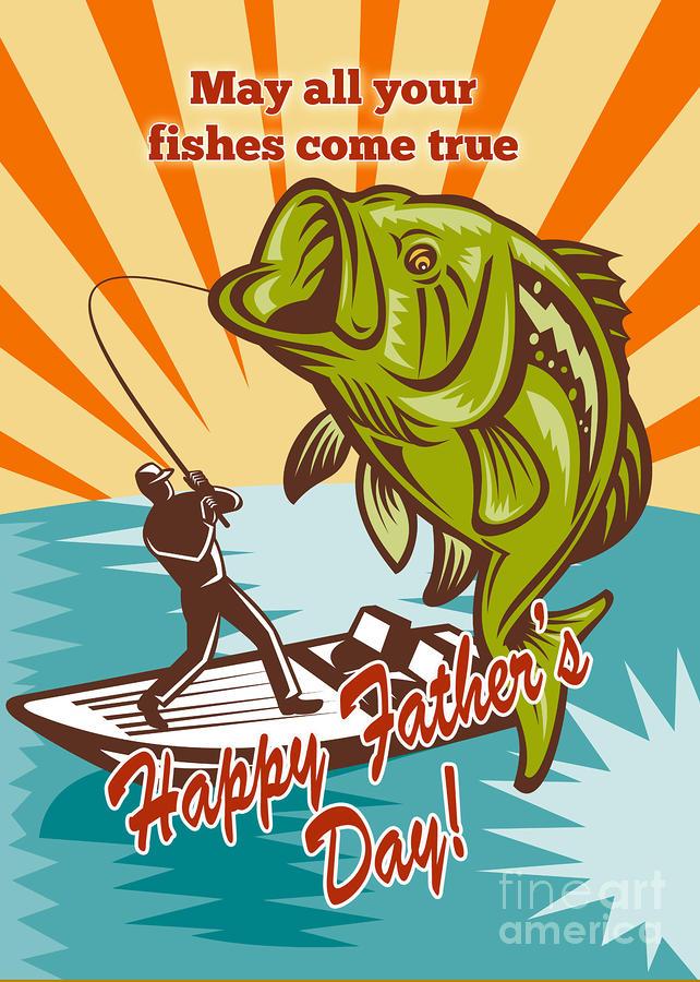 Fly Fisherman On Boat Catching Largemouth Bass Digital Art