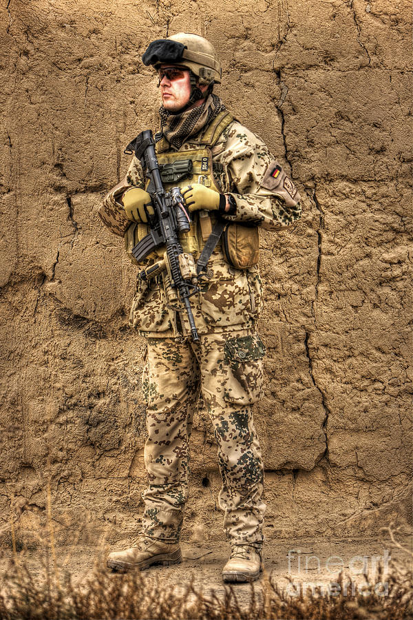 Operation Enduring Freedom Photograph - Hdr Image Of A German Army Soldier by Terry Moore