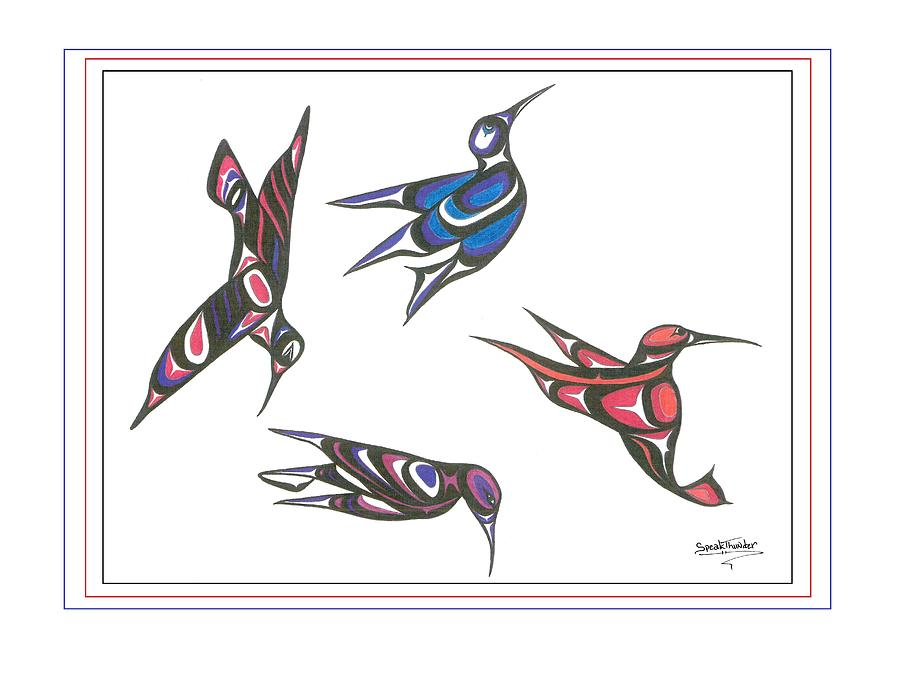 Bird Drawing - 4 Hummingbirds by Speakthunder Berry