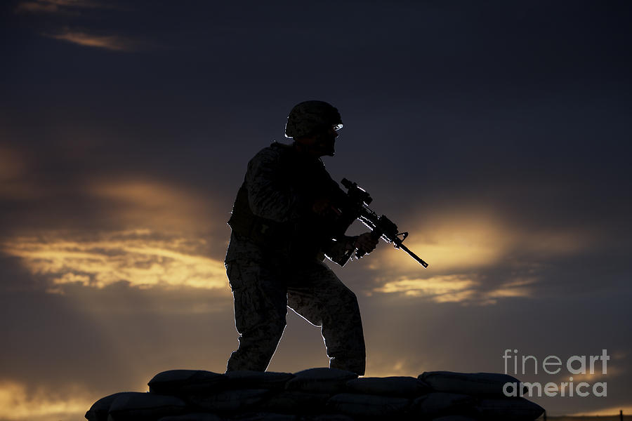 Partially Silhouetted U.s. Marine Photograph  - Partially Silhouetted U.s. Marine Fine Art Print