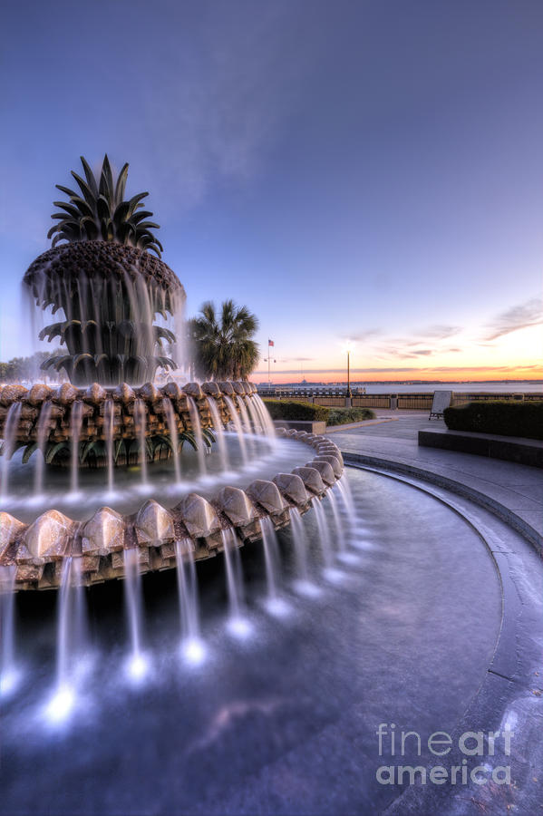 Pineapple Fountain Charleston Sc Sunrise Photograph  - Pineapple Fountain Charleston Sc Sunrise Fine Art Print