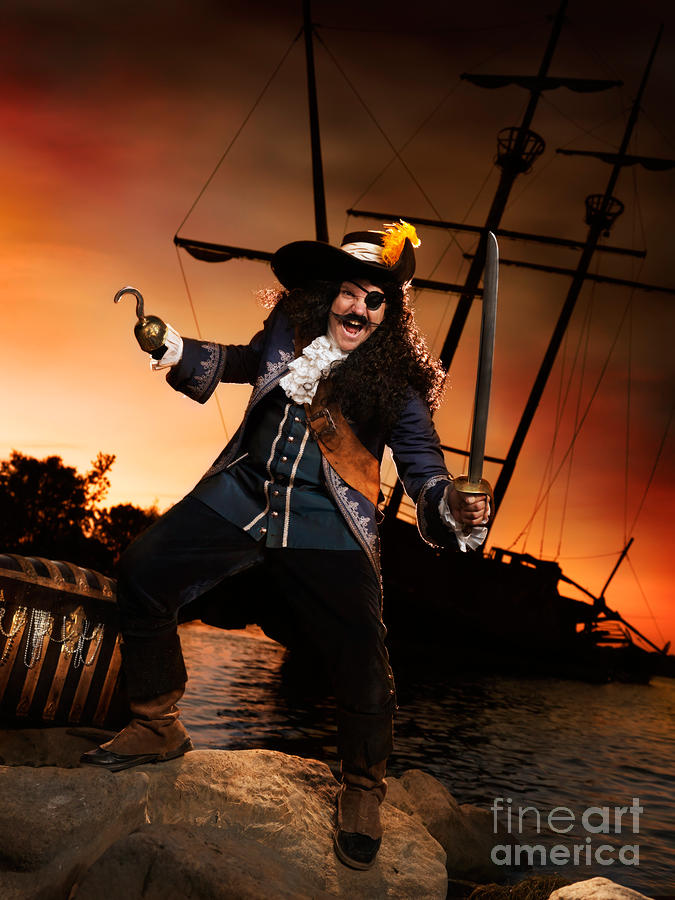 Pirate With A Treasure Chest Photograph