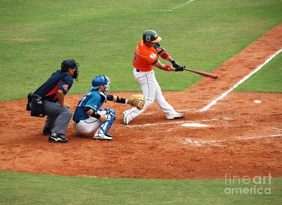 Professional Baseball Game In Taiwan Photograph