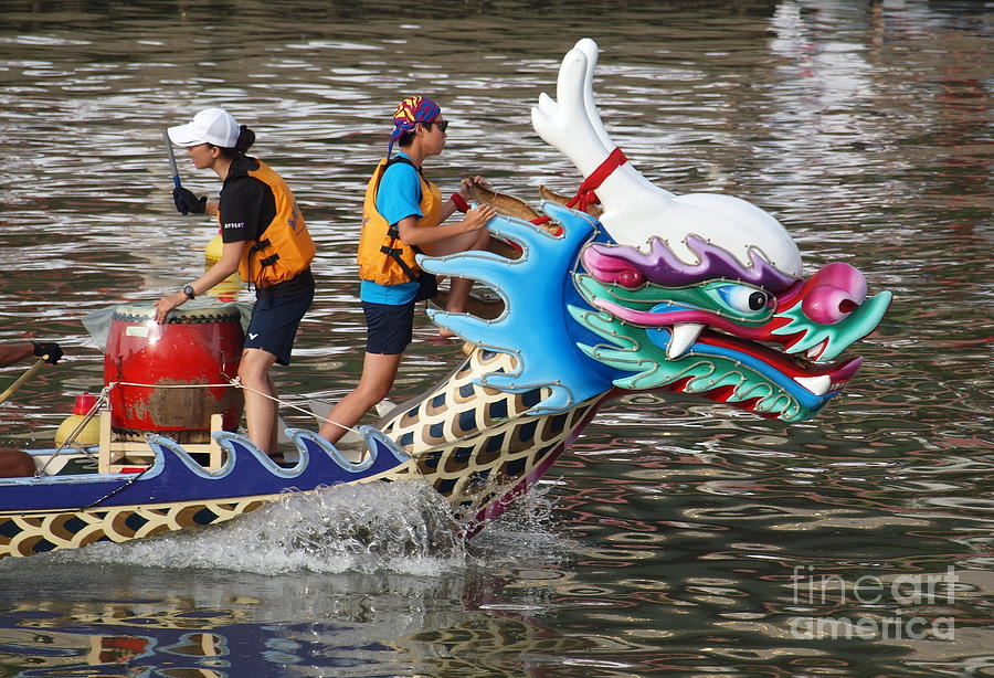 Scene From The Dragon Boat Races In Kaohsiung Taiwan Photograph  - Scene From The Dragon Boat Races In Kaohsiung Taiwan Fine Art Print