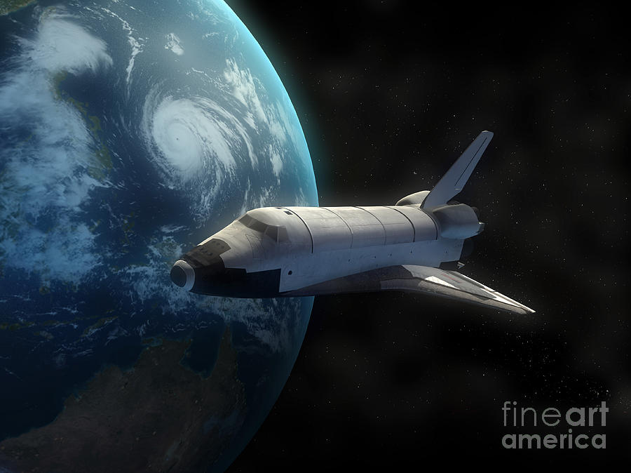 Space Shuttle Backdropped Against Earth Digital Art  - Space Shuttle Backdropped Against Earth Fine Art Print