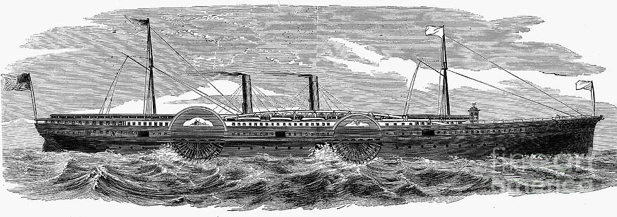 1867 Photograph - 4 Wheel Steamship, 1867 by Granger
