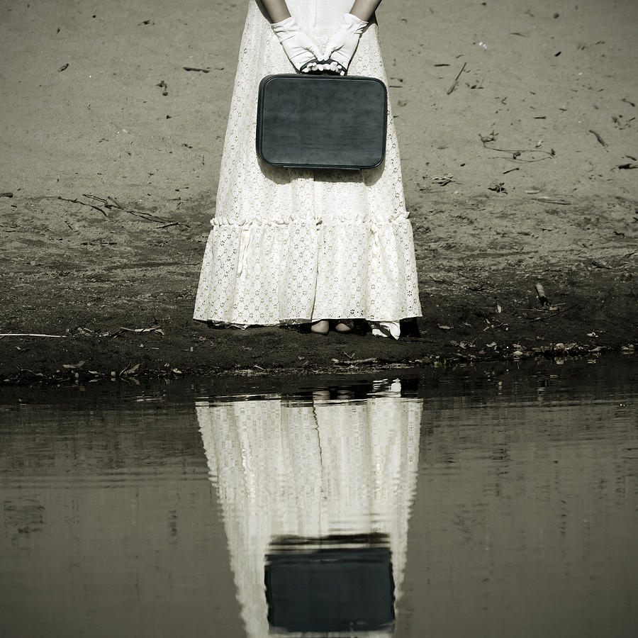 Woman With Suitcase Photograph  - Woman With Suitcase Fine Art Print