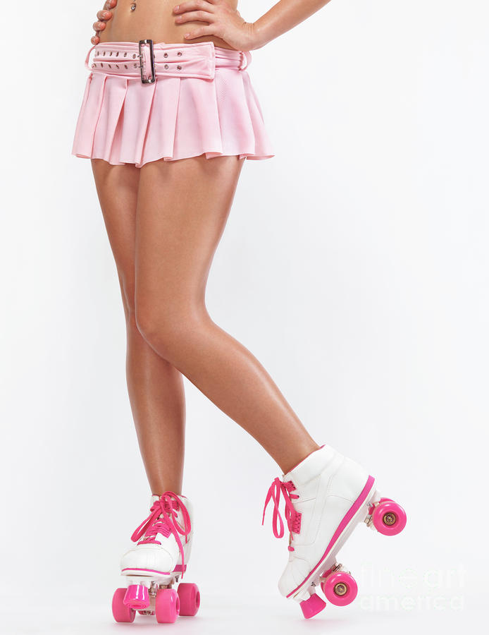 Young Woman Wearing Roller Derby Skates Photograph
