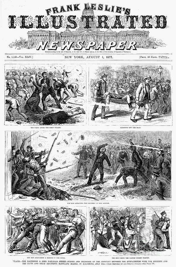 railroad strike of 1877 The great railroad strike of 1877 started on july 14 in martinsburg, west virginia, in response to the baltimore & ohio railroad (b&o) cutting wages of workers for the third time in a year striking workers would not allow any of the trains, mainly freight trains, to roll until this third wage cut was revoked.