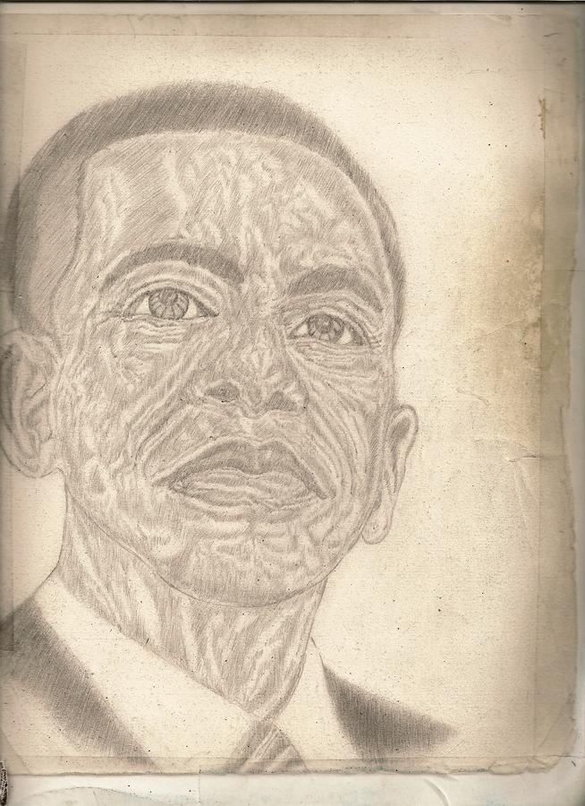 44th President Barack Obama By Artist Fontella Moneet Farrar Drawing