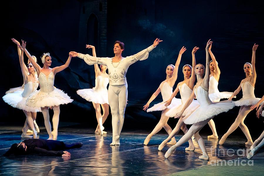 White Photograph - Swan Lake Ballet by Baranov Viacheslav