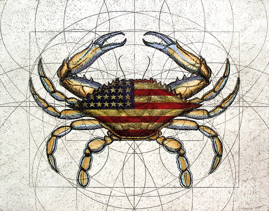 4th Of July Crab Mixed Media