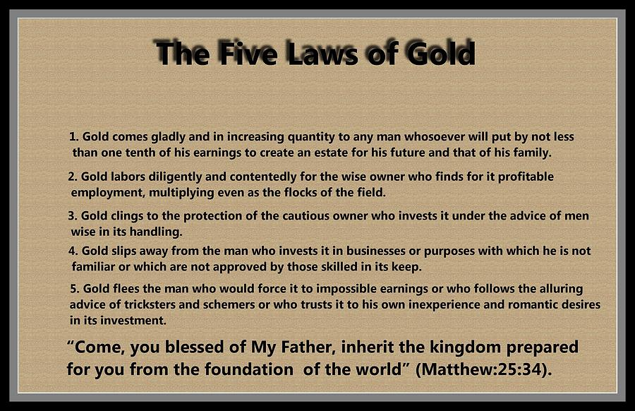 5 Laws Of Gold Digital Art  - 5 Laws Of Gold Fine Art Print