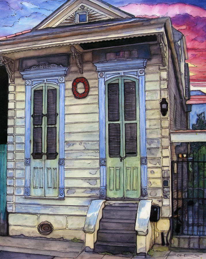 5  Shotgun House With Red Wreath Painting  - 5  Shotgun House With Red Wreath Fine Art Print