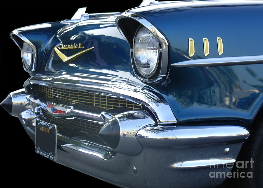 57 Chevy Bel Air Hardtop Front Digital Art  - 57 Chevy Bel Air Hardtop Front Fine Art Print