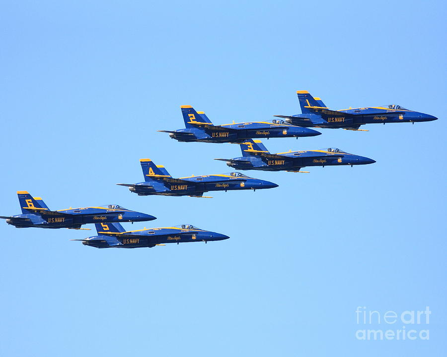 6 Blue Angels Jetting Through The Sky Photograph