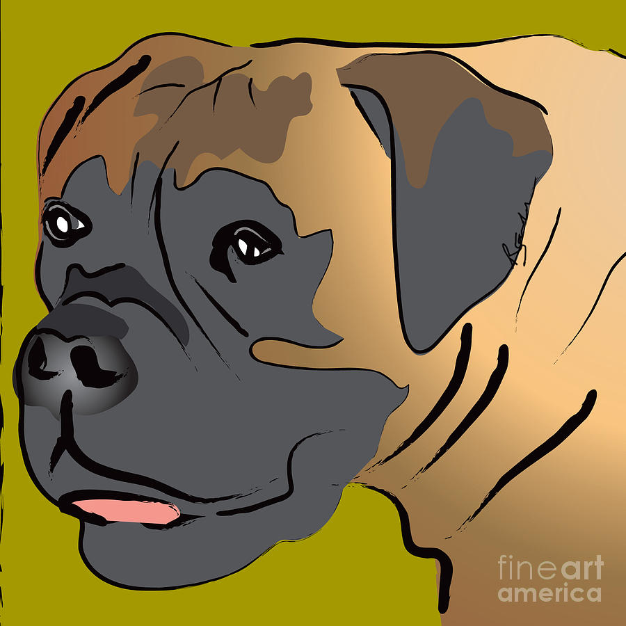 Boxer Dog Portrait Painting  - Boxer Dog Portrait Fine Art Print