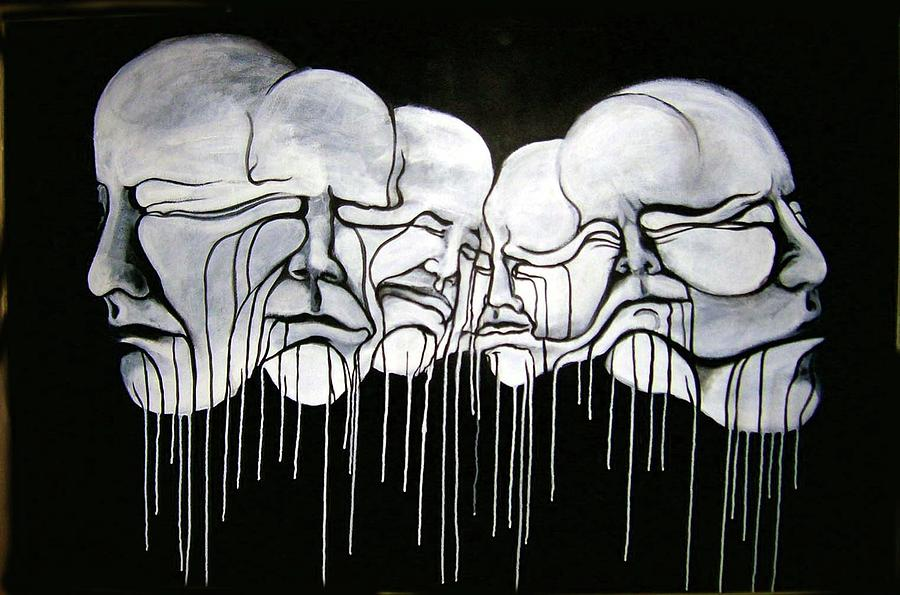 6 Faces Painting  - 6 Faces Fine Art Print
