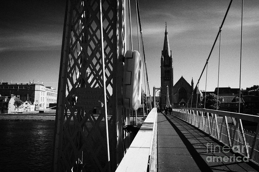 Pedestrian Suspension Footbridge The Greig Street Bridge Over The River Ness Inverness Highland Scot Photograph  - Pedestrian Suspension Footbridge The Greig Street Bridge Over The River Ness Inverness Highland Scot Fine Art Print
