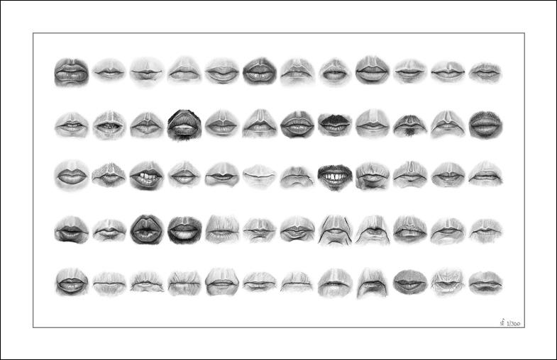 60 Mouths - Limited Edition Giclee Print Drawing
