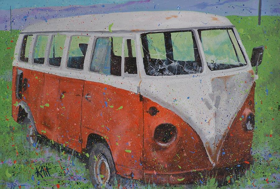 63 Vw Type 2  Bus Painting  - 63 Vw Type 2  Bus Fine Art Print