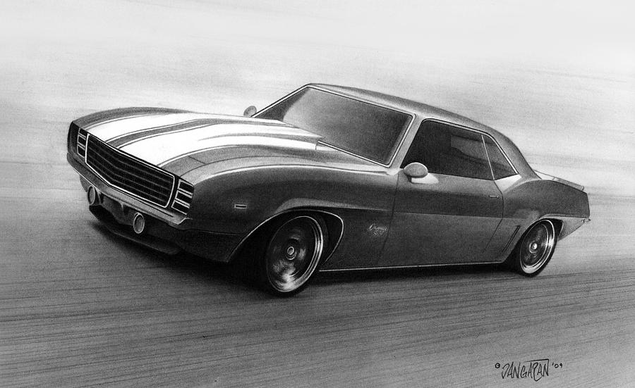 69 Camaro Drawing  - 69 Camaro Fine Art Print