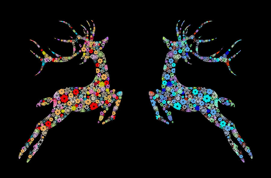 Reindeer Design By Snowflakes Painting