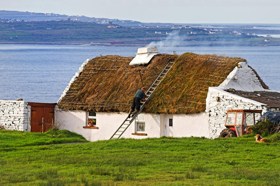 Traditional Thatch Roof Cottage Ireland Photograph