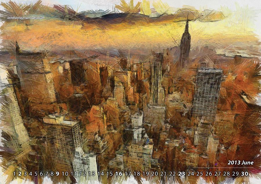 Art Calendar Nyc : Calendar new york painting by antuan graftio
