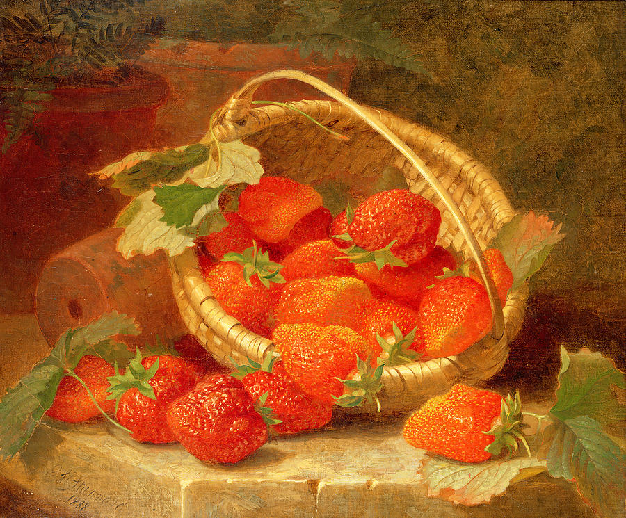 A Basket Of Strawberries On A Stone Ledge Painting