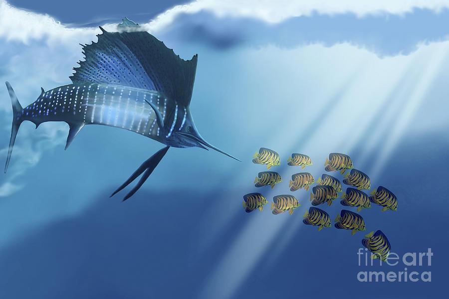 Marlin Digital Art - A Blue Marlin Swims After A School by Corey Ford