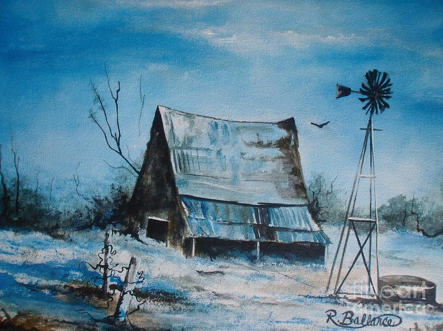 A Blue Winter In Texas Painting  - A Blue Winter In Texas Fine Art Print
