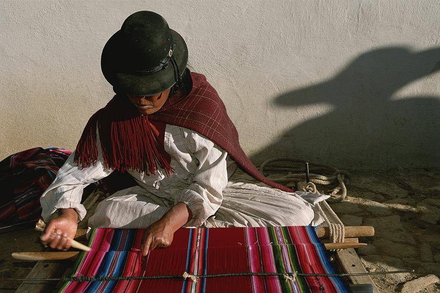 A Bolivian Woman Weaves Brightly Photograph  - A Bolivian Woman Weaves Brightly Fine Art Print