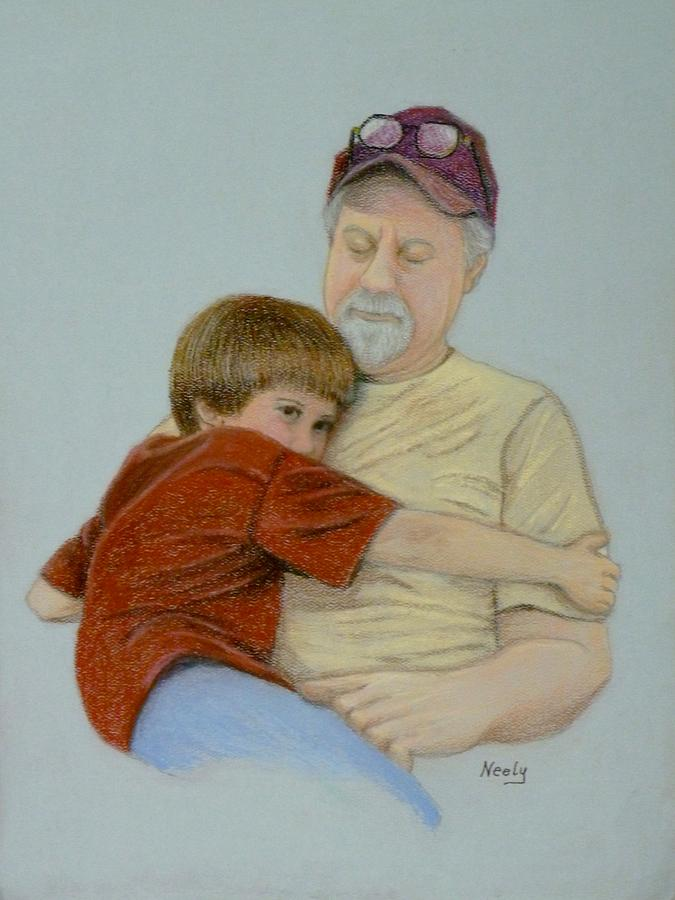 A Boy And His Dad Pastel  - A Boy And His Dad Fine Art Print