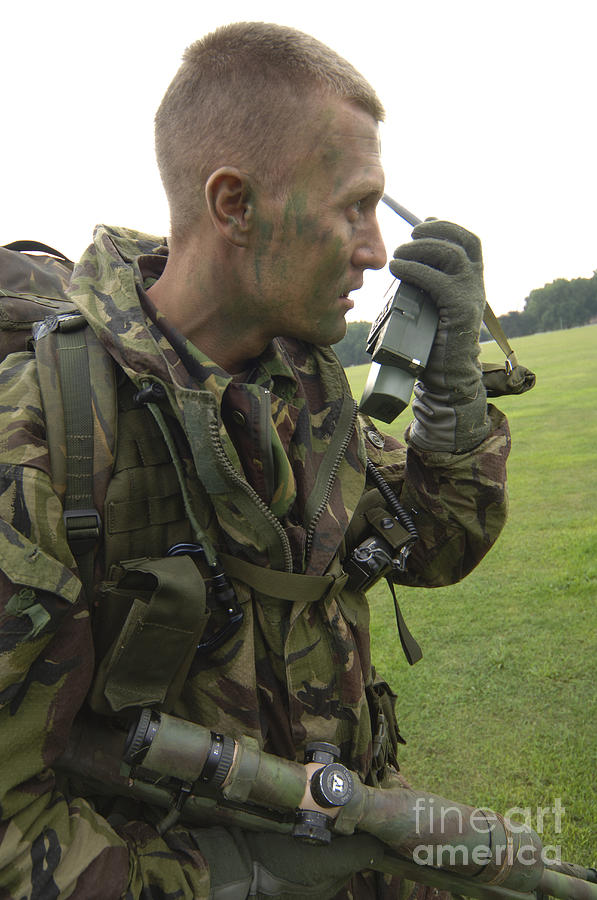 Radio Photograph - A British Army Soldier Radios by Andrew Chittock