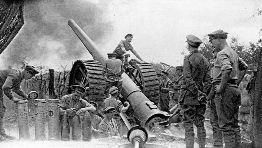 A British Heavy Gun In Action, British Photograph