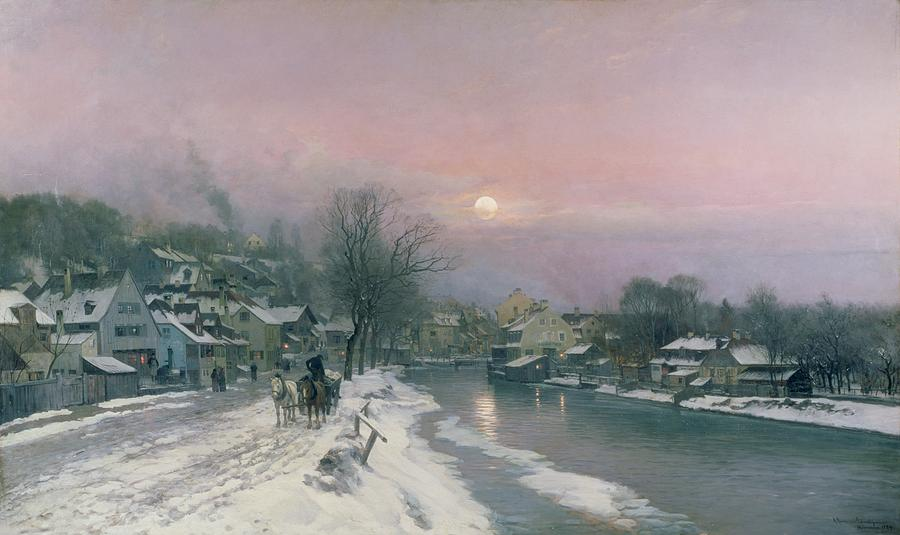 A Canal Scene In Winter  Painting  - A Canal Scene In Winter  Fine Art Print
