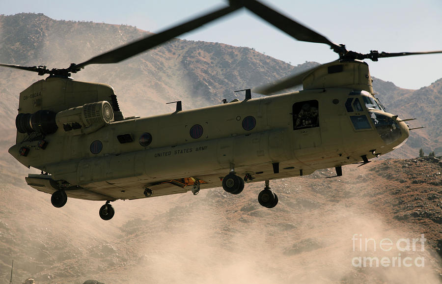 A Ch-47 Chinook Helicopter Kicks Photograph  - A Ch-47 Chinook Helicopter Kicks Fine Art Print