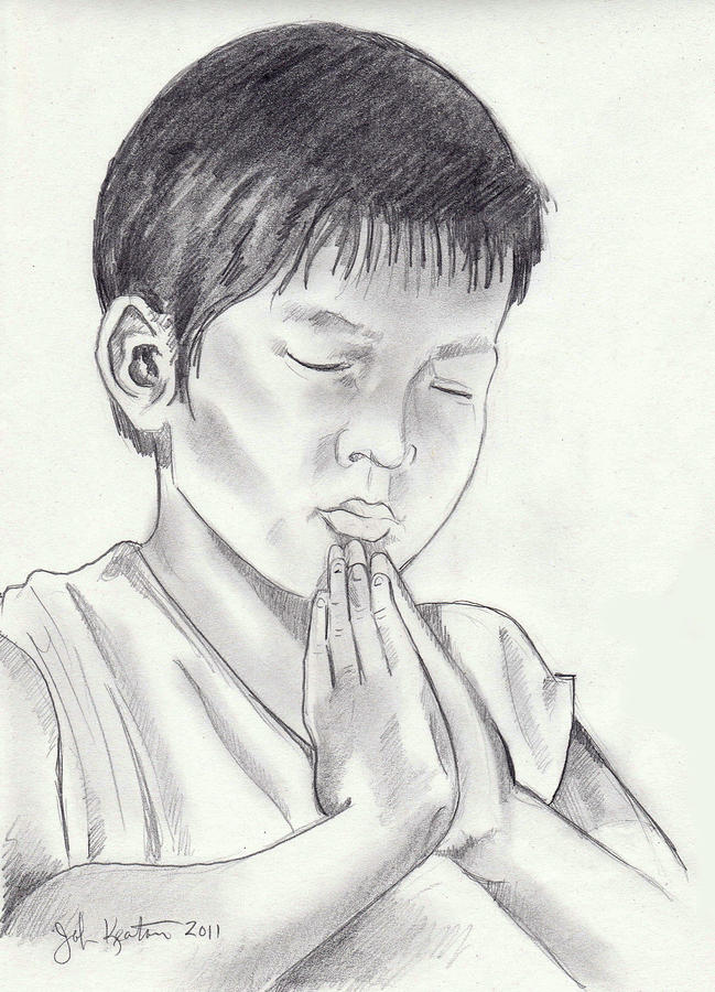 A Childs Prayer Drawing  - A Childs Prayer Fine Art Print