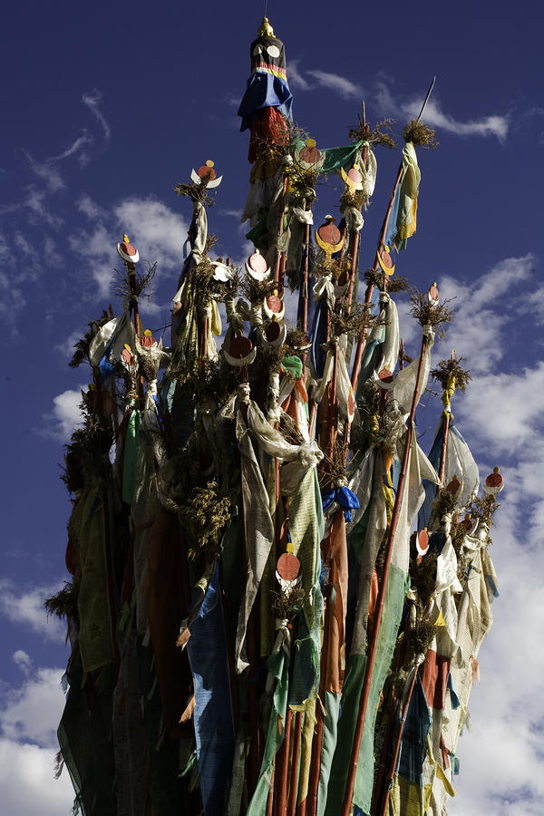 A Cluster Of Tibetan Prayer Flags Photograph  - A Cluster Of Tibetan Prayer Flags Fine Art Print