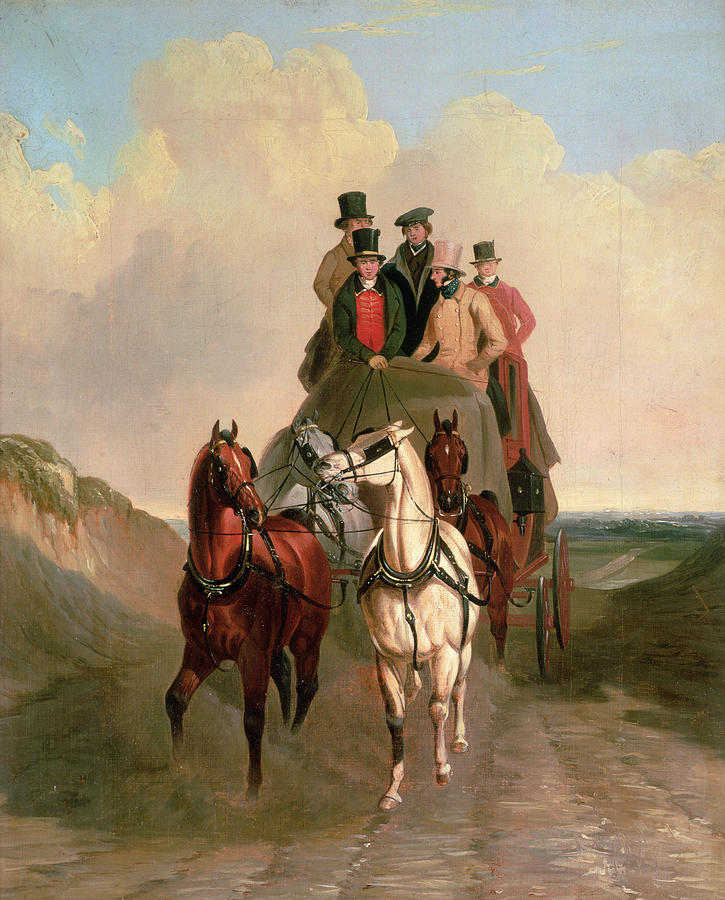 A Coach And Four On An Open Road  Painting  - A Coach And Four On An Open Road  Fine Art Print