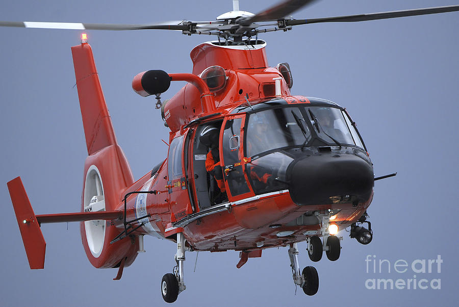A Coast Guard Mh-65 Dolphin Helicopter Photograph  - A Coast Guard Mh-65 Dolphin Helicopter Fine Art Print