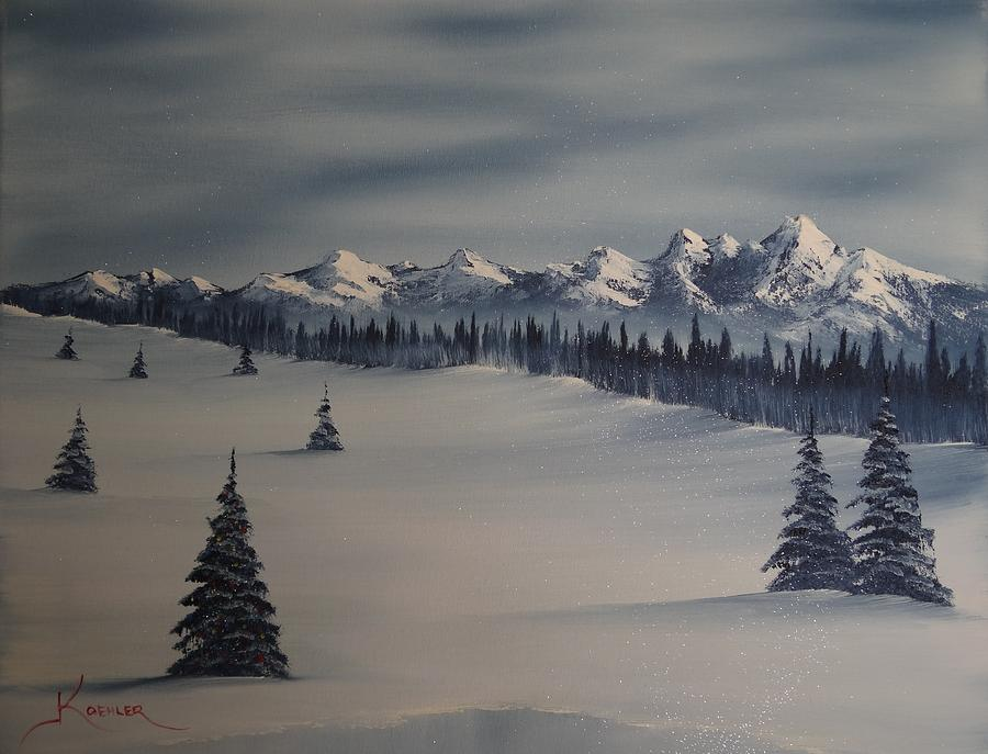 A Cold Winter Slope Painting