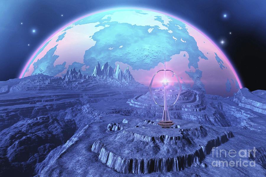 Space Art Digital Art - A Colony On An Alien Moon by Corey Ford