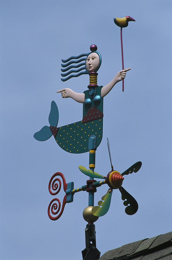 A Colorful Mermaid Shaped Weather Vane Photograph  - A Colorful Mermaid Shaped Weather Vane Fine Art Print