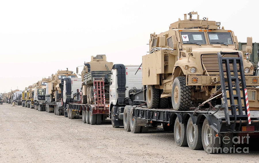 Iraq Photograph - A Convoy Of Mine-resistant Ambush by Stocktrek Images