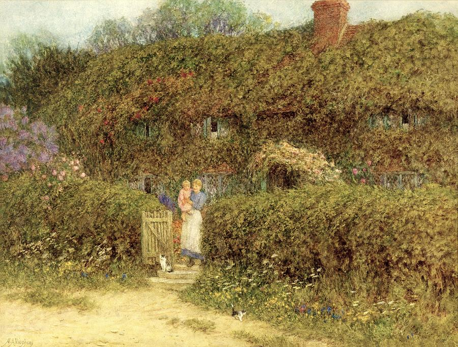 Mother And Child; Gate; Rural Scene; Country; Countryside; Home; Path; Garden; Wildflowers; Roses; Picturesque; Idyllic; Daughter; Cat; Vines; House; Female Painting - A Cottage At Freshwater Isle Of Wight by Helen Allingham