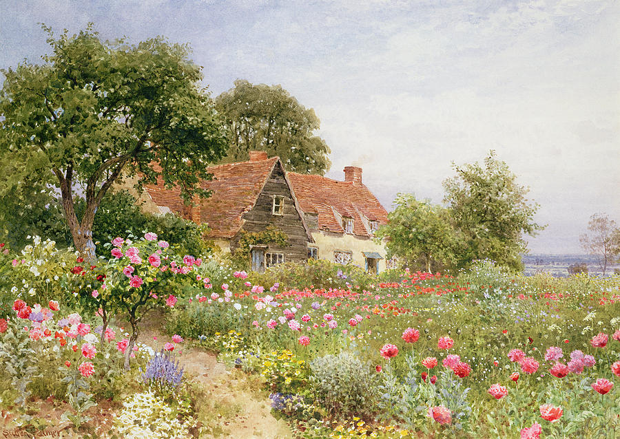A Cottage Garden Painting  - A Cottage Garden Fine Art Print